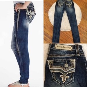 New! Rock Revival knit, leather trim skinny Jeans